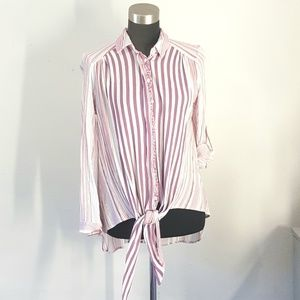 Oddy Purple Stripe Blouse Tunic Size Small